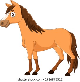 Cartoon brown horse isolated on white background