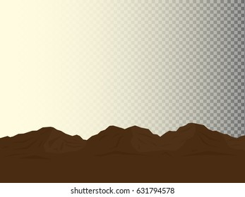 Cartoon brown mountains isolated on light and transparent background. Vector illustration of natural large landforms.