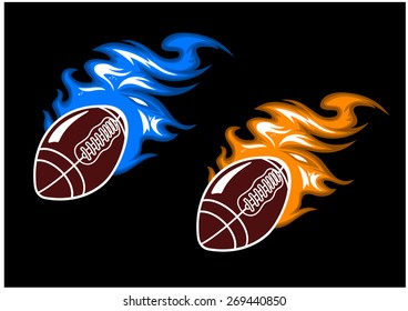Cartoon brown rugby balls with blue and orange fire flames on black background for sporting design