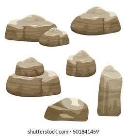 Cartoon brown stones set, different shape rock collection, vector nature landscape elements, game location assets, isolated on white.