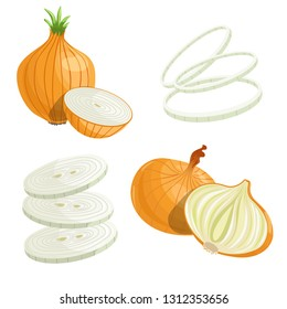 Cartoon brown or yellow onions set. Whole unpeeled, half, onion rings and slices. Fresh farm market vegetables. Vector iilustrations isolated on white background.