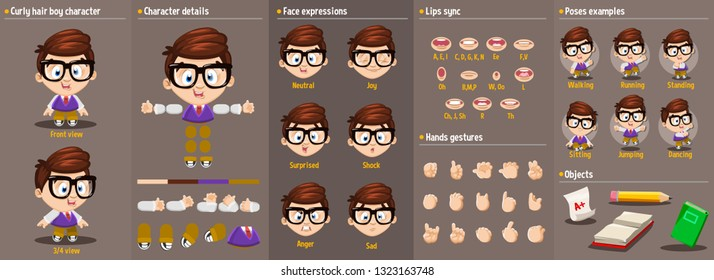Cartoon brunette boy constructor for animation/ Parts of body: legs, arms, face emotions, hands gestures, lips sync. Full length, front, three quarter view. Set of ready to use poses, objects.