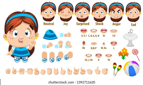 Cartoon brunette girl constructor for animation. Parts of body: legs, arms, face emotions, hands gestures, lips sync. Full length, front, three quater view. Set of ready to use poses, objects.