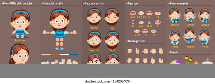 Cartoon brunette girl constructor for animation.Parts of body: legs, arms, face emotions, hands gestures, lips sync. Full length, front, three quarter view.Set of ready to use poses, objects