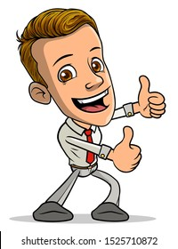 Cartoon brunette standing funny smiling boy character showing thumbs up, like gesture or sign with red tie. Isolated on white background. Vector icon.