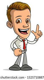 Cartoon brunette standing funny smiling boy character showing forefinger up gesture with red tie. Isolated on white background. Vector icon.