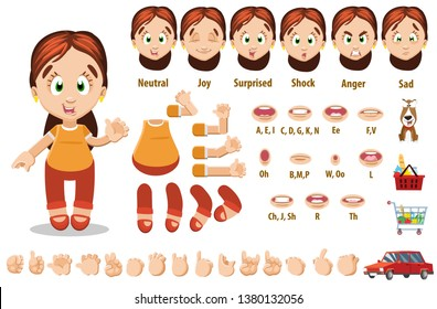 Cartoon brunette woman constructor for animation. Parts of body: legs, arms, face emotions, hands gestures, lips sync. Full length, front, three quarter view. Set of ready to use poses, objects.