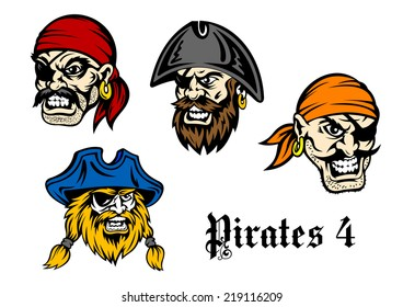 Cartoon brutal pirates and captains in bandannas, eye patches for adventures or mascot design