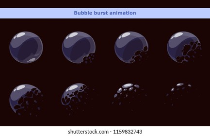 Cartoon bubble animation frames for game or video effects.