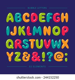 Cartoon bubble font. Colorful letters with glint