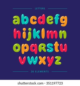 Cartoon bubble font. Colorful lowercase letters with glint