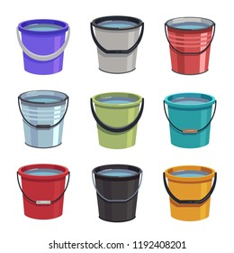 Cartoon buckets. Water pails, metal and plastic bucket. Isolated vector set. Collection of bucket container with water, pailful plastic and aluminum illustration