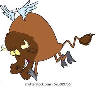 cartoon buffalo with wings