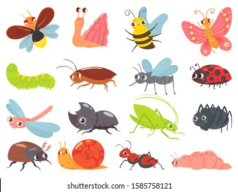 Cartoon bugs. Baby insect, funny happy bug and cute ladybug. Insects mascots, different bugs characters warm, comic snail and butterfly. Isolated vector icons set