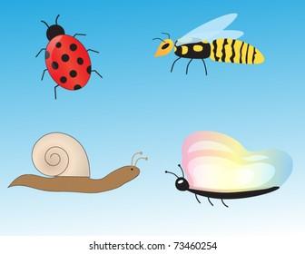 Cartoon Bugs Sett Vector