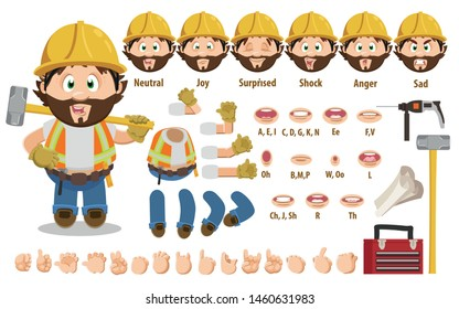 Cartoon builder, foreman constructor for animation. Parts of body: legs, arms, face emotions, hands gestures, lips sync. Full length, front, three quater view. Set of ready to use poses, objects.