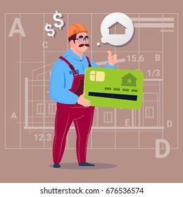 Cartoon Builder Hold Credit Card Sell House Real Estate Over Abstract Plan Background Male Workman Flat Vector Illustration