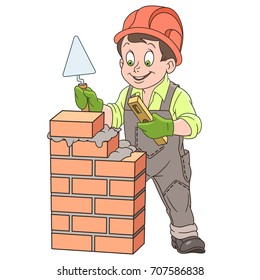 Cartoon builder with trowel and level tool working around a brick wall. Colorful book page design for kids and children.
