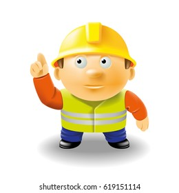 Cartoon builder. Cartoon worker with his hand raised pointing at the top. Volumetric figure of a person. Vector, 3D, EPS-10.