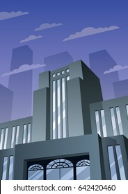 Cartoon building in Art Deco style.