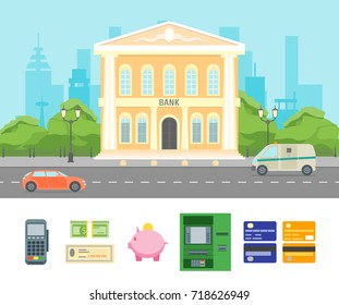Cartoon Building Bank on a City Landscape Background Urban Architecture Exterior Facade and Elements Part Symbols of Finance. Vector illustration