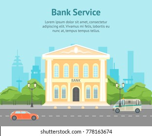 Cartoon Building Bank on a City Landscape Background Card Poster Urban Architecture Exterior Facade Symbols of Finance. Vector illustration
