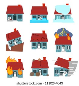 Cartoon Building Disasters Destruction Icon Set Include of Fire, Earthquake, Hurricane and Flood Flat Design Style. Vector illustration of Icons