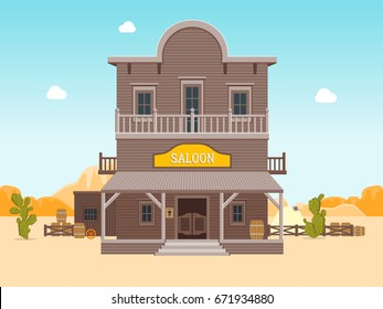 Cartoon Building Saloon on a Wild West Landscape Background Wooden Old House Cowboy Bar Flat Style Design. Vector illustration