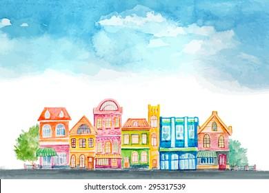 Cartoon buildings. Little carton town. Vector watercolor.