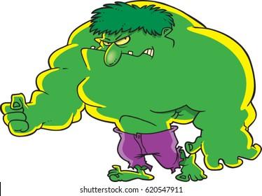 cartoon bulky green super hero