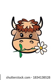 Cartoon bull head with a flower in its mouth. Bull emblem. Template for printing, postcards, fabric, poster and other uses.