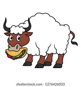 Cartoon Bull With Wool Eating Taco