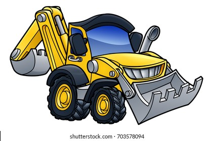 Cartoon bulldozer digger construction vehicle illustration