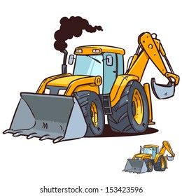 cartoon bulldozer and excavator