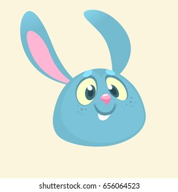 Cartoon bunny rabbit head icon. Flat Bright Color Simplified Vector Illustration or Logo In Fun Cartoon Style Design