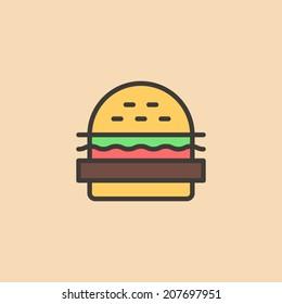 Cartoon burger, with bread, salad, ketchup, cutlet. Minimal style. Design element, for flyer, brochure, card, poster, menu. Easy to edit. Vector illustration - EPS10.