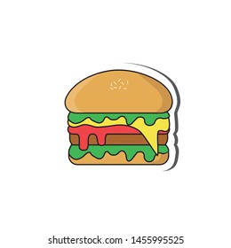 Cartoon burger stickers with beautiful colors
