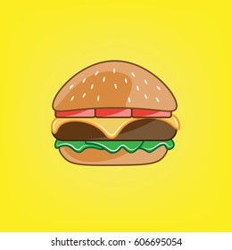 Cartoon Burger. Vector illustration