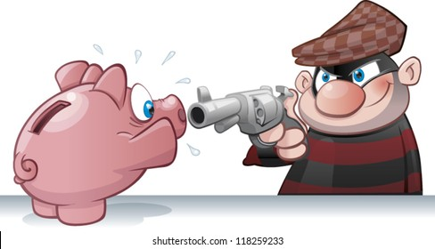 Cartoon burglar holding up a piggy bank at gunpoint