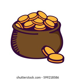 Cartoon buried treasure of a leprechaun. Pot with gold. St. Patrick's day. Vector images for your business and design. For postcards, cartoons, games, wallpapers, linen and clothing