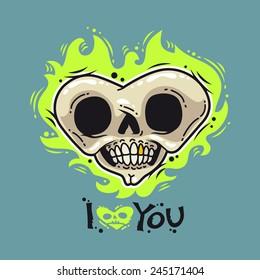 Cartoon Burning Dead Heart for Humor Valentine's Day Design or T-Shirt Print