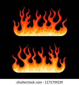 Cartoon burning flames element. Two decoration element with hot blazing fire flame in yellow, orange and red colors isolated on black background. Vector illustration for web design or flammable emblem