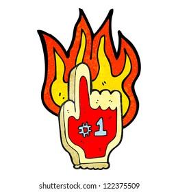 cartoon burning sports foam hand