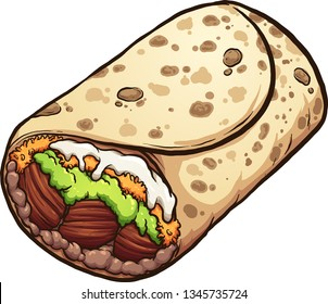 Cartoon burrito Mexican food clip art. Vector illustration with simple gradients. All in a single layer.