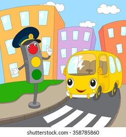 Cartoon bus and traffic lights. Vector illustration