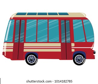 A cartoon bus. Vector illustration of transport. Picture of a bus of children.