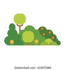 Cartoon bush element vector. Green herbal plant isolated on white. Flat style vector illustration