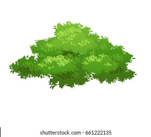 Cartoon bush illustration. Nature element for landscape design