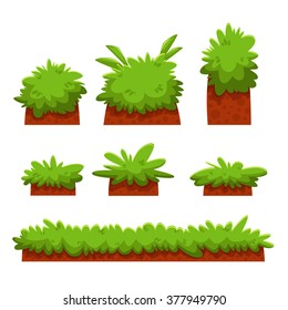 Cartoon Bushes, Hedges And Grass Leaves Set/ Illustration of a set of cartoon spring or summer and green icons, with bush, hedges for ui game