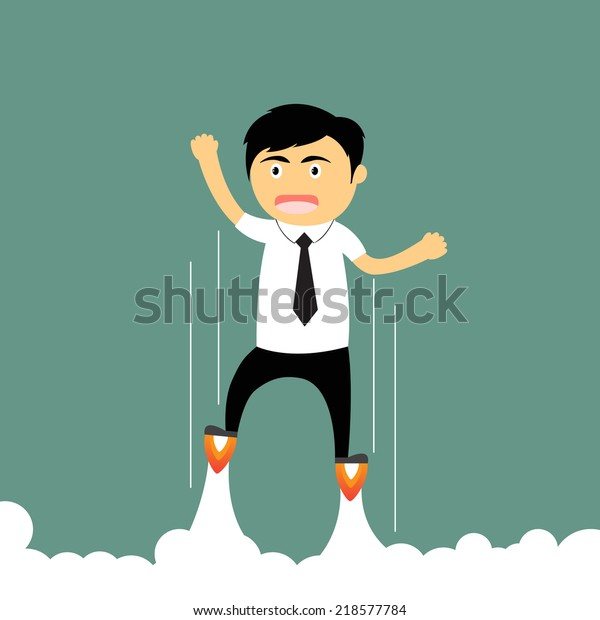 Cartoon business accelerator. businessman launching upwards. Businessman start idea to success vector illustration.